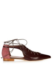 Malone Souliers Montana Lace Up Leather Flats Burgundy Multi