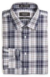 Nordstrom Men's Big And Tall Men's Shop Smartcare Tm Trim Fit Plaid Dress Shirt Navy Peacoat