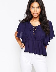 Love Lace Up Top With Frill Sleeves Navy