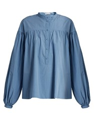 Tomas Maier Poets Balloon Sleeved Cotton Shirt Blue