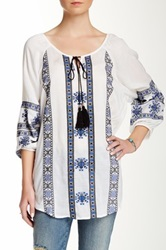 Angie Embroidered Split Neck Blouse Juniors Multi