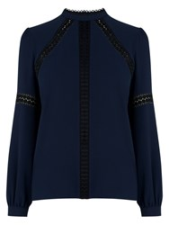 Warehouse Lace Insert Top Navy