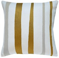 Judy Ross Textiles Stripe Cream Gold Rayon Oyster Pillow