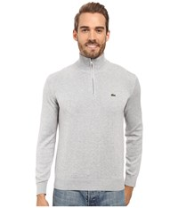 Lacoste Segment 1 1 4 Zip Jersey Sweater Silver Grey Chine Men's Sweater Gray