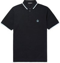 Dolce And Gabbana Slim Fit Cotton Pique Polo Shirt Navy