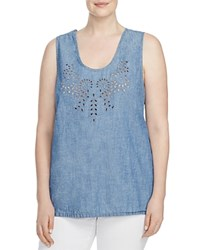Lucky Brand Plus Eyelet Embroidered Chambray Tank Roosevelt Beach