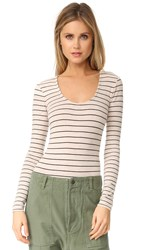 Madewell Stevie Striped Long Sleeve Bodysuit Heather Pebble Stripe