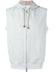 Brunello Cucinelli Sleeveless Zipped Hoodie Grey