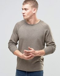 Jack And Jones Vintage Raw Edge Crew Neck Knitted Jumper Beige