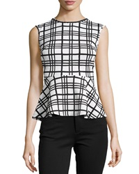 Casual Couture Plaid Print Peplum Top Black White