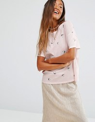 Pull And Bear Pullandbear Cat Print T Shirt Pink