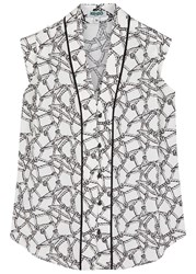 Kenzo Off White Rope Print Sleeveless Shirt