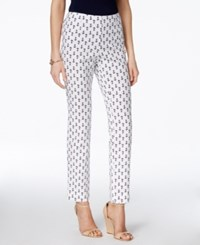 Charter Club Printed Pull On Slim Ankle Pants Only At Macy's White Navy Anchor
