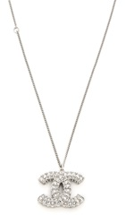 Wgaca Chanel Rough Rhinestone Cc Necklace Previously Owned Silver Clear