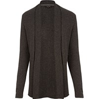 River Island Mens Dark Grey Ribbed Muscle Fit Cardigan