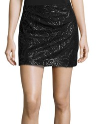 Design Lab Lord And Taylor Floral Sequin Mini Skirt Black