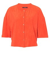 Betty Barclay Faux Suede Short Sleeved Jacket Orange