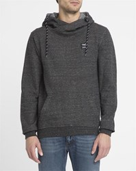 Iriedaily Charcoal Black Chamisso Layer Shawl Collar Hooded Sweatshirt
