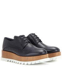 Jil Sander Platform Leather Derby Shoes Black