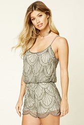 Forever 21 Angie Sequined Romper Silver