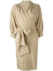Christian Dior Vintage Polka Dot Tie Dress Nude And Neutrals