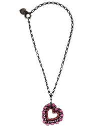 Lanvin Heart Pendant Necklace Pink And Purple