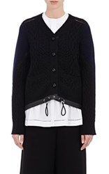 Sacai Women's Colorblocked Wool Cable Knit Cardigan Black