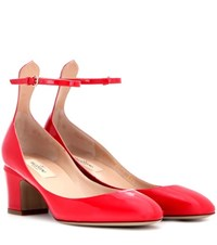 Valentino Tan Go Patent Leather Pumps Red