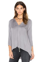 Michael Stars Long Sleeve Hi Low Crossback Top Gray