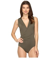 Vince Camuto Fiji Solids Shirred Surplus One Piece Dark Sage Women's Swimsuits One Piece Gray