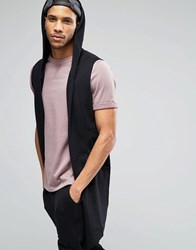 Asos Sleeveless Hooded Waterfall Cardigan Black
