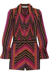 Diane Von Furstenberg Ariella Pleated Printed Silk And Wool Blend Playsuit Violet