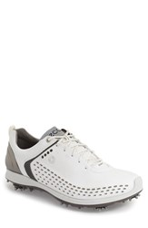 Men's Ecco 'Biom' Hydromax Waterproof Golf Shoe White Dark Shadow Leather