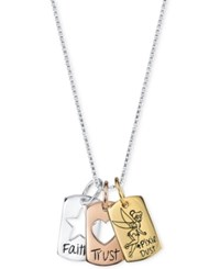 Disney Faith Trust And Pixie Dust Dog Tag Pendant Necklace