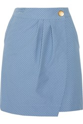 See By Chloe Wrap Effect Embroidered Cotton Blend Mini Skirt Blue