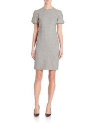 Akris Punto Houndstooth Puff Sleeve Dress Black Cream