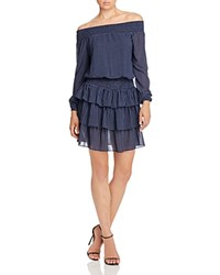 Michael Michael Kors Off The Shoulder Dot Print Ruffle Dress New Navy