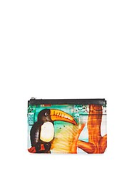 Proenza Schouler Leather And Canvas Medium Zip Pouch Toucan