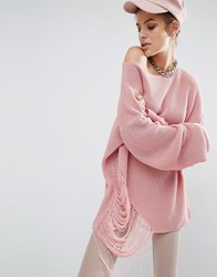 Bones Oversized Knit Jumper With Distressed Threading On Side Pink