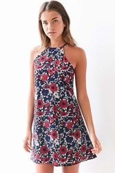 Lucca Couture Floral High Neck Frock Dress Red Multi