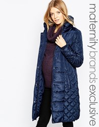 Mama Licious Mamalicious Long Padded Belted Coat Navy