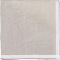 Simonnot Godard Men's Satin Border Handkerchief White
