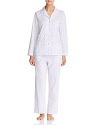 Eileen West Knit Long Pajama Set White Ground Tanzanite Geo