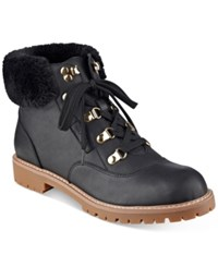 Tommy Hilfiger Tucker Lace Up Faux Fur Ankle Booties Women's Shoes Black