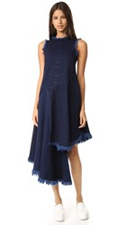 Marques Almeida Layered Frayed Midi Dress Indigo