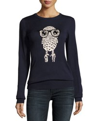 French Connection Geeky Owl Knit Top Blue White