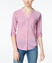 Almost Famous Juniors' Lace Back Utility Shirt Mauve
