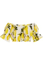Dolce And Gabbana Cropped Off The Shoulder Printed Cotton Poplin Top Yellow