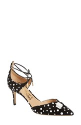 Women's Salvatore Ferragamo X Edgardo Osorio 'Carolyn' Lace Up Pump Black White Dots