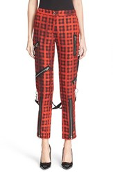 Women's Moschino Plaid Print Ankle Pants With Detachable Suspenders
